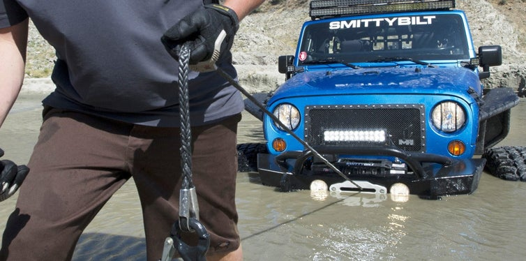 pulling out the car with winches