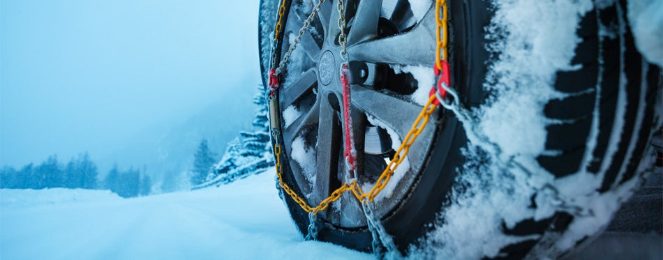 tire chains under the snow