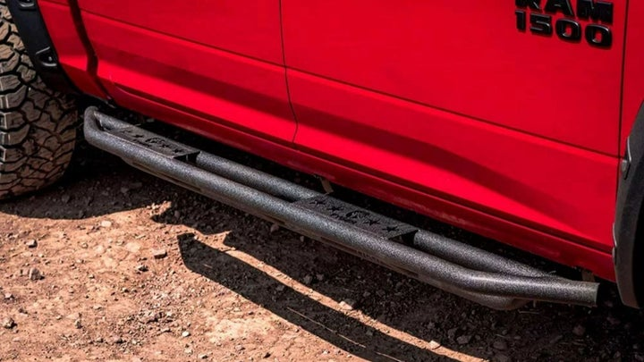Running board on a red truck