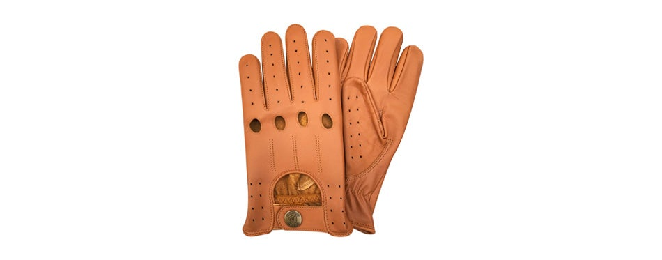 prime leather retro style leather men's driving gloves