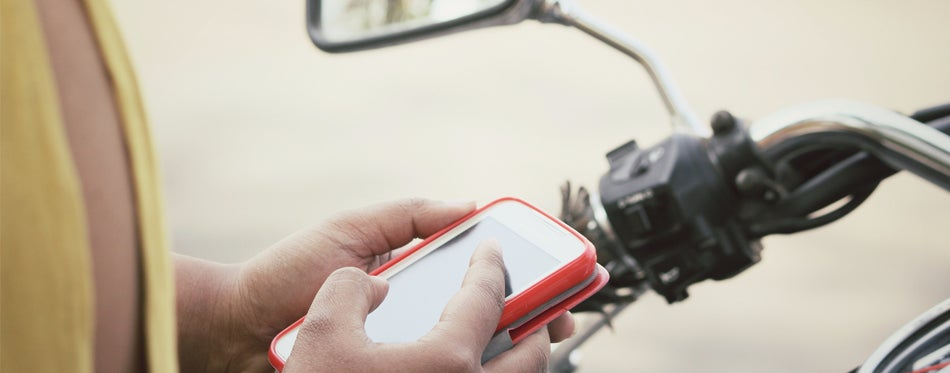 mobile phone on a motorcycle