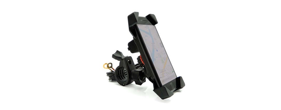motorcycle phone mount holder with usb charger port universal