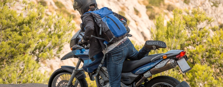 biker with a backpack