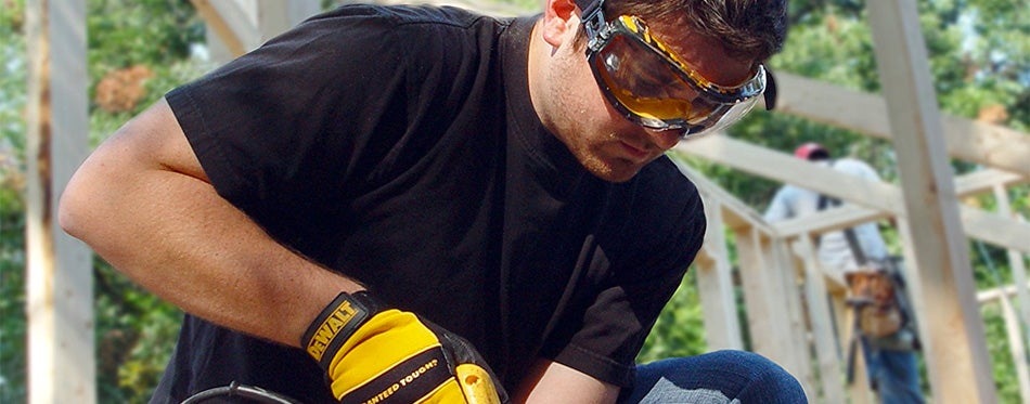 handyman wearing a safety glass
