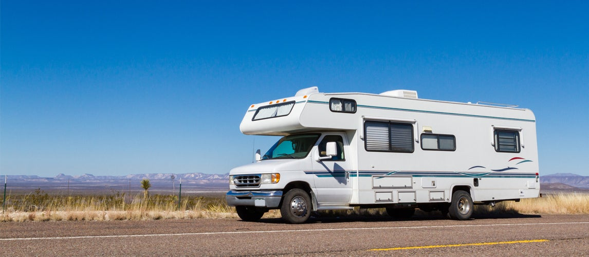 White RV on the road