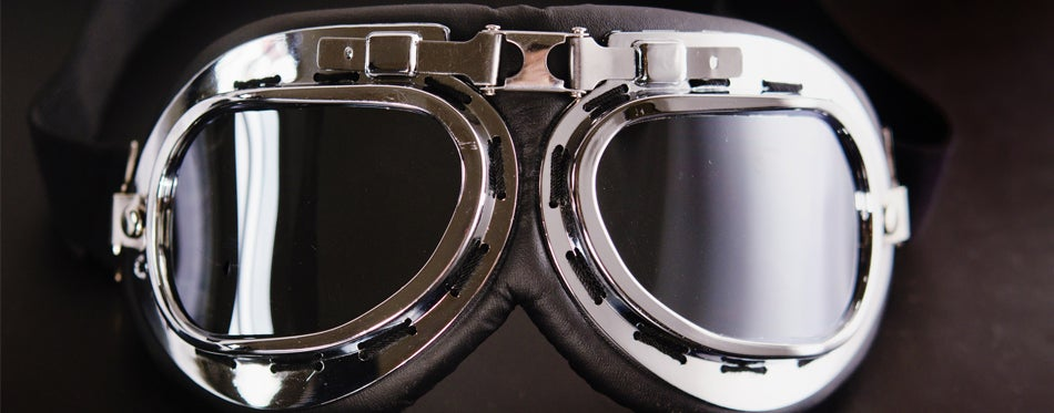 closeup of motorcycle goggles
