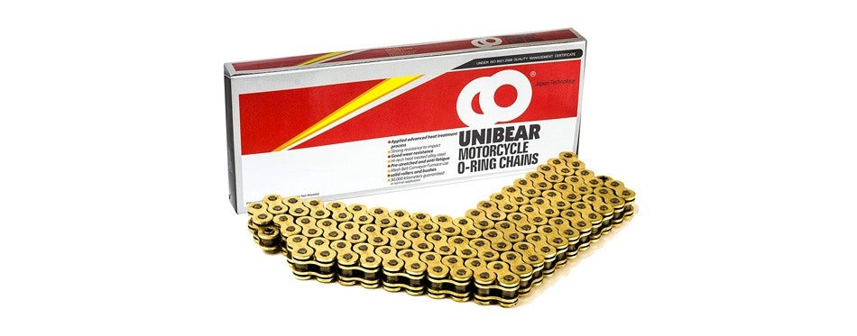 530 gold o-ring motorcycle chain by unibear