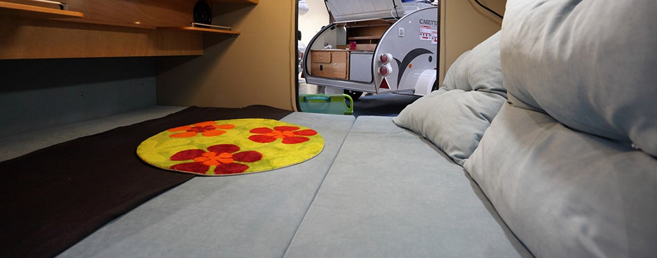 Interior of a small camper van