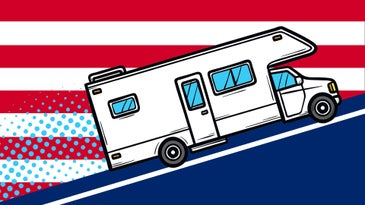 A cartoon RV drives up a blue hill against a white and red striped background.