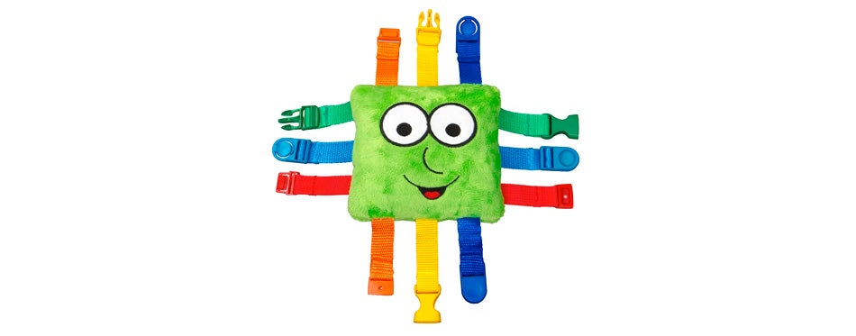 """buckle toy """"buster"""" travel toy for toddlers"""