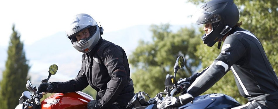 bikers with helmet speakers