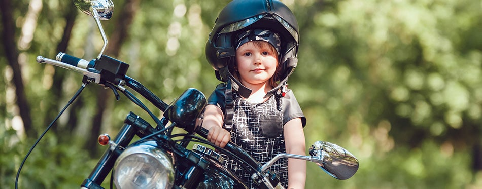 Little girl on a motorcycle
