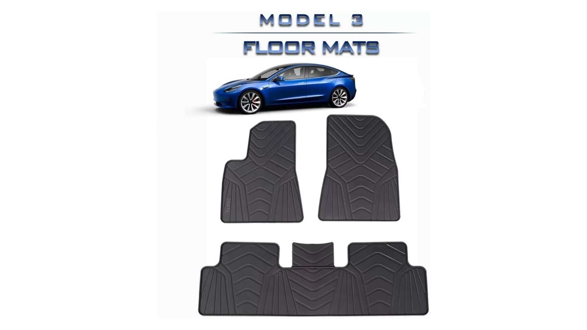 Tmate All Weather Tesla Model 3 Floor Mats (Front and Rear)