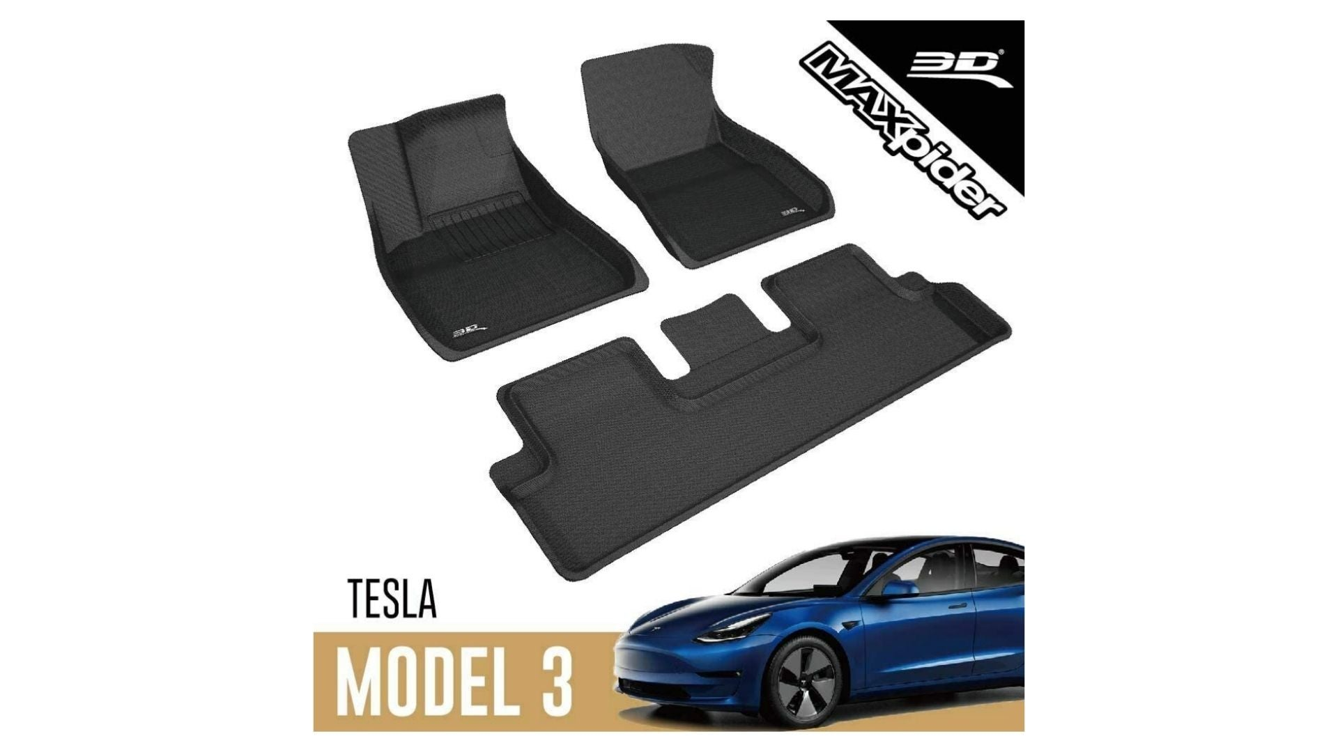 3D MAXpider Kagu Series All-Weather Model 3 Floor Mats (Front and Rear)