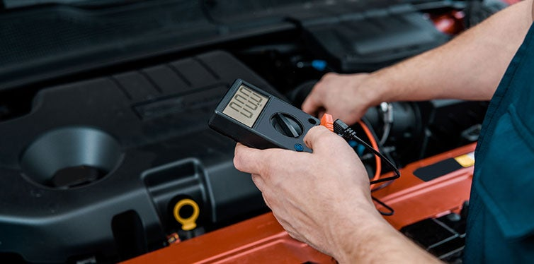 Partial View Auto Mechanic Multimeter