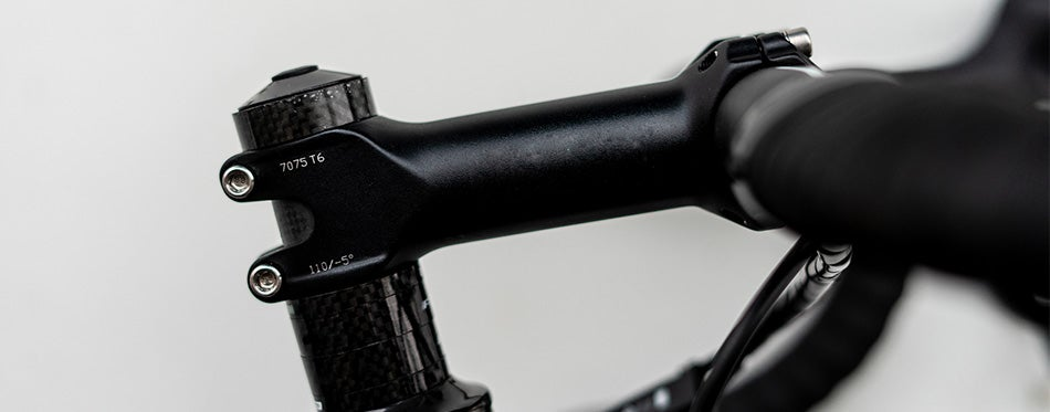 Shiny black handlebar stem