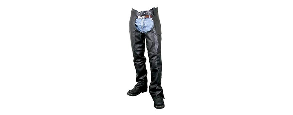 Xelement Black Easy Fit Motorcycle Chaps