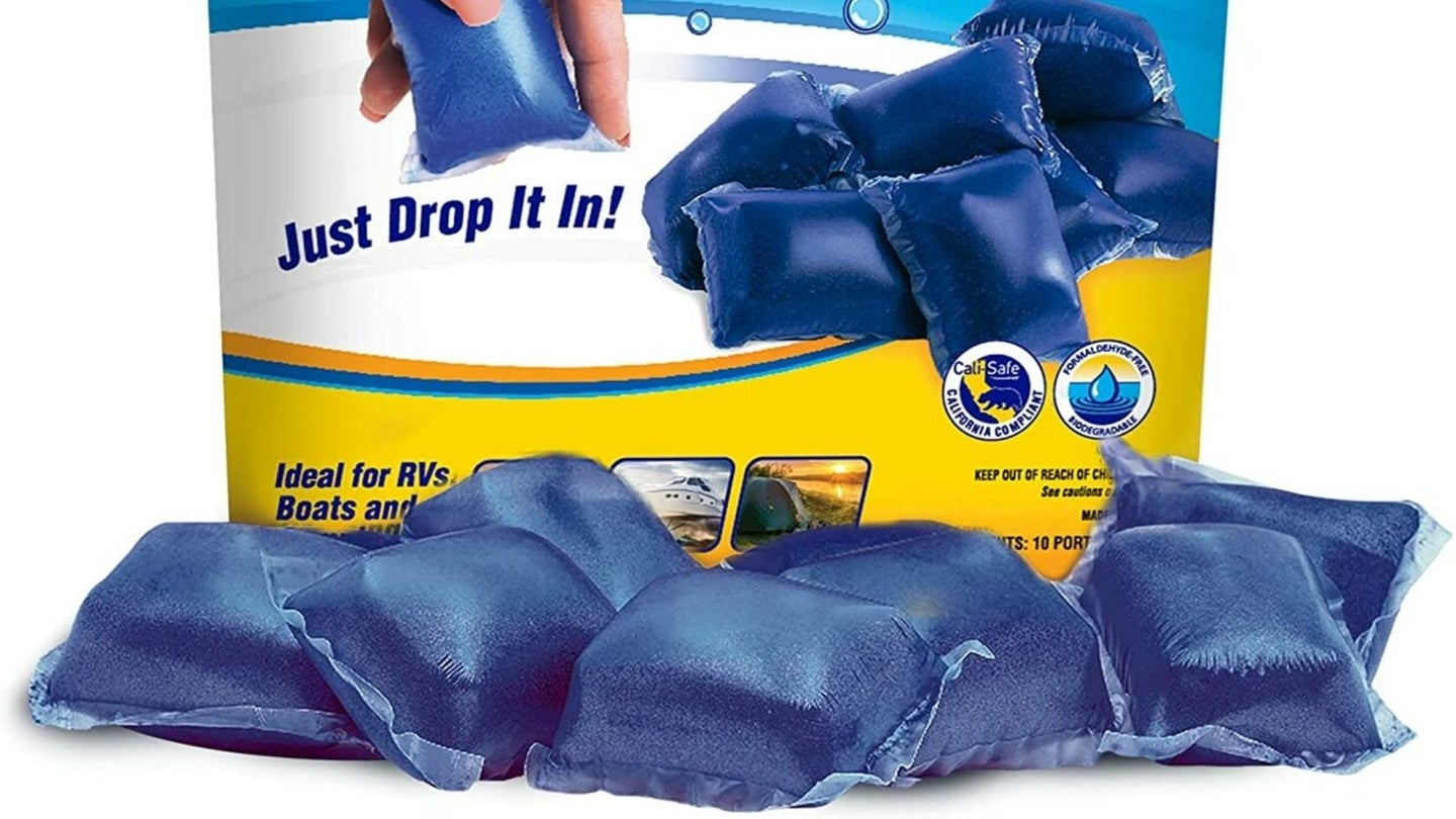 Small blue bags with RV holding tank treatment