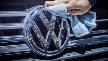 VW logo badge on a grill