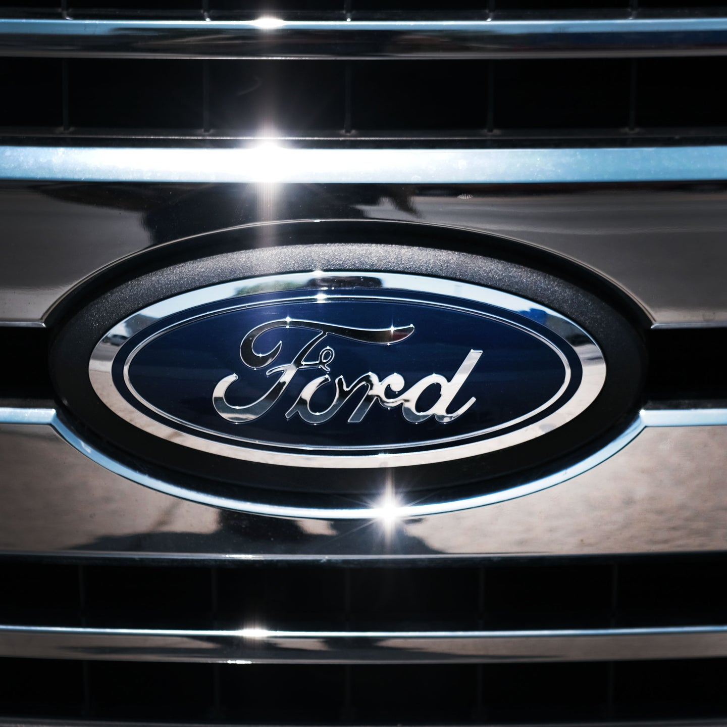 Ford badge on a front grill