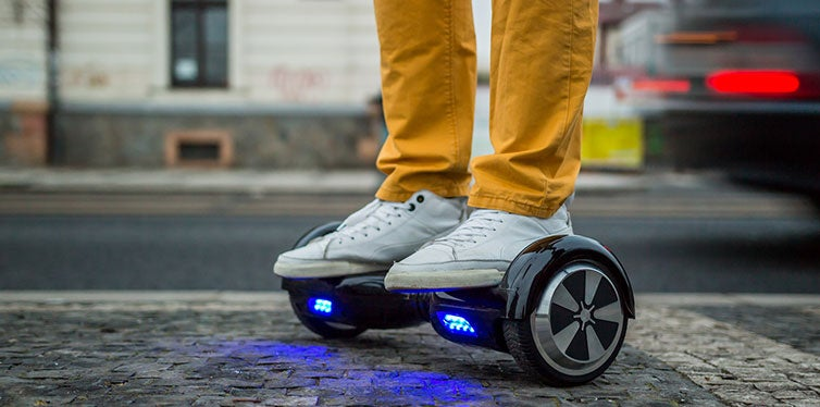 Man using hoverboard