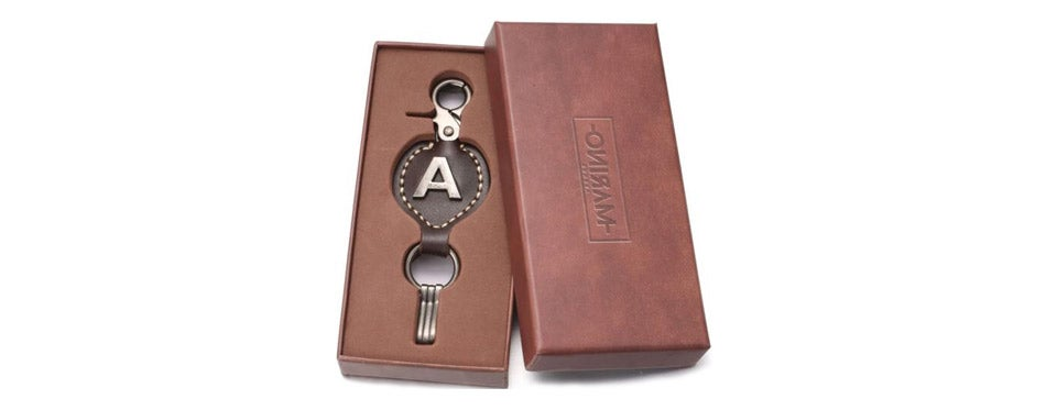 Marino Ave Brown Leather Keychain