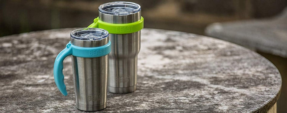 Two travel mugs