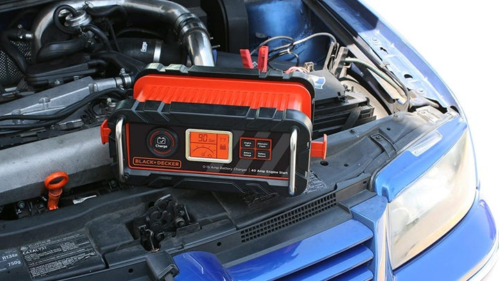 AGM battery charger is charging a car battery