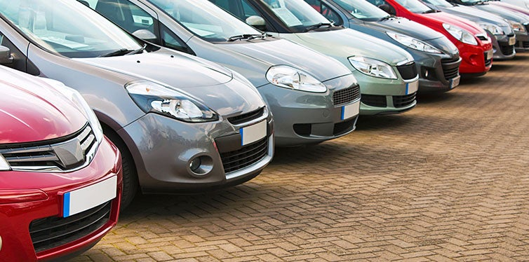 Row of different used cars