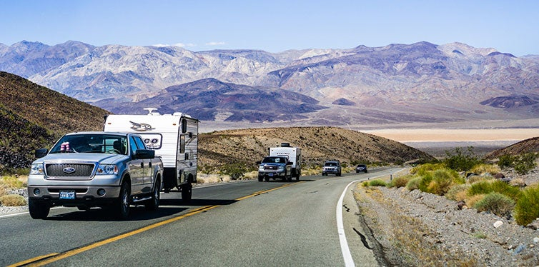 Pick up trucks with RV travel trailers