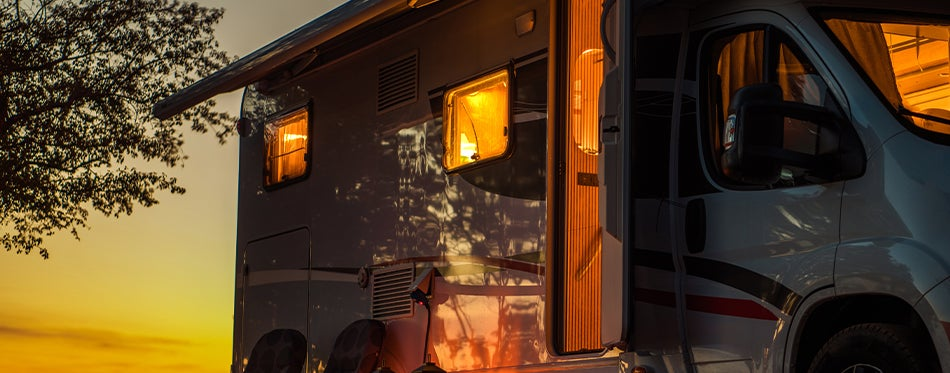 Scenic view of RV with internal lighting turned on