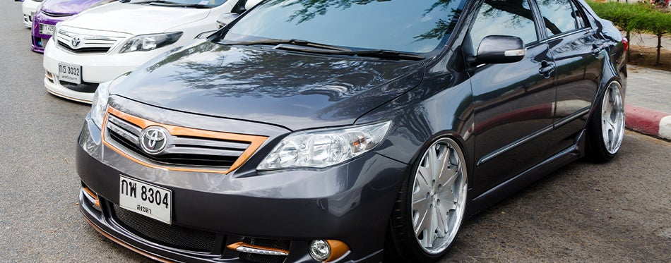 Tuned Toyota Corolla with aftermarket tires