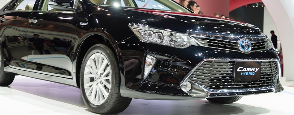 Hybrid Toyota Camry in the showroom
