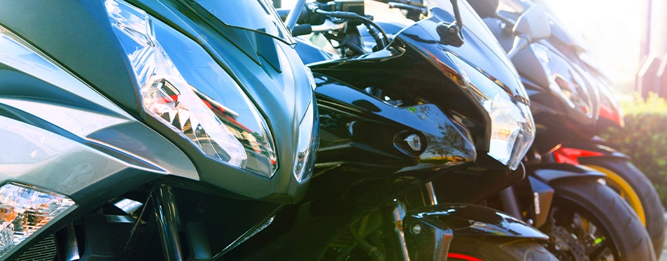 Motorcycles with batwing fairing lined up