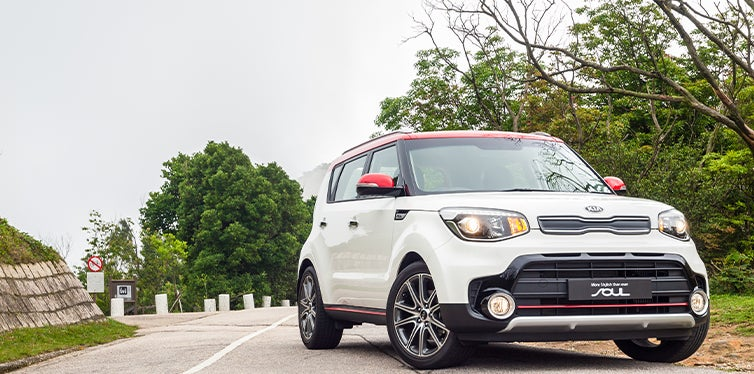 Electric Kia Soul on the road
