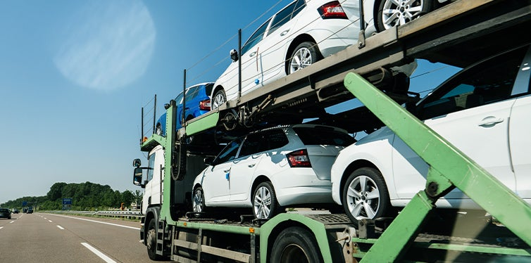 Cars being shipped on a truck