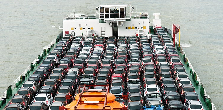 Cars being transported on a ship