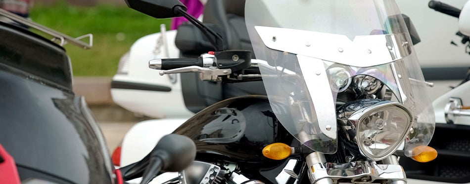 Front view of motorcycle with cleaned windshield