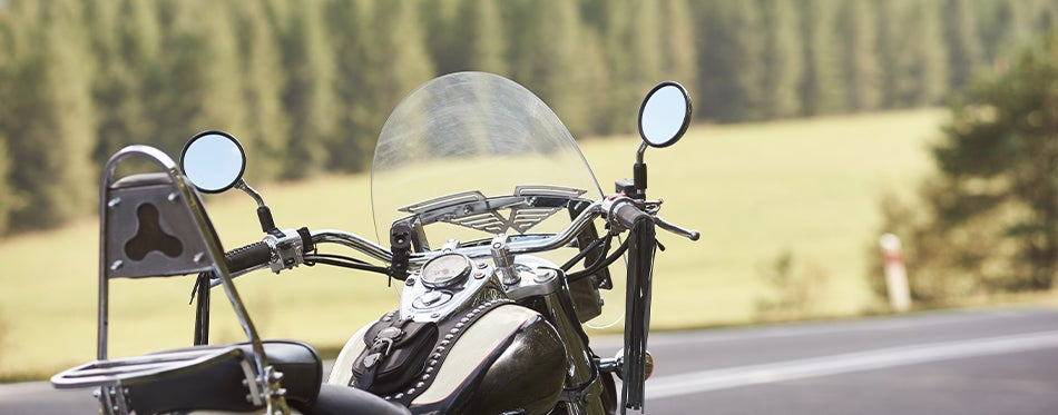 Motorcycle with windshield parked in nature