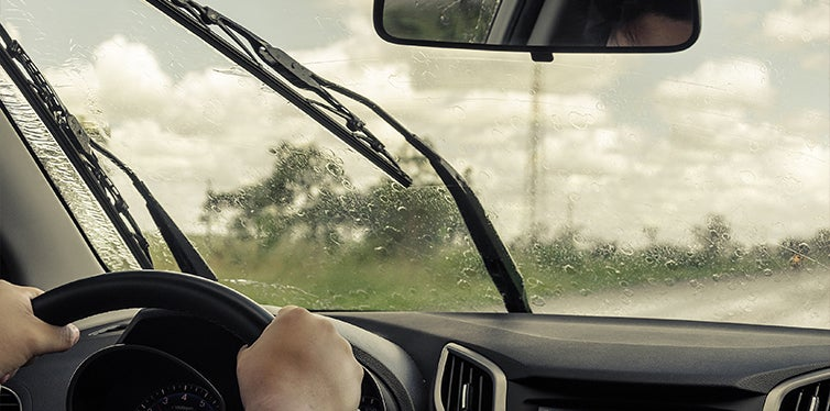 Windshield wipers being used in heavy rain