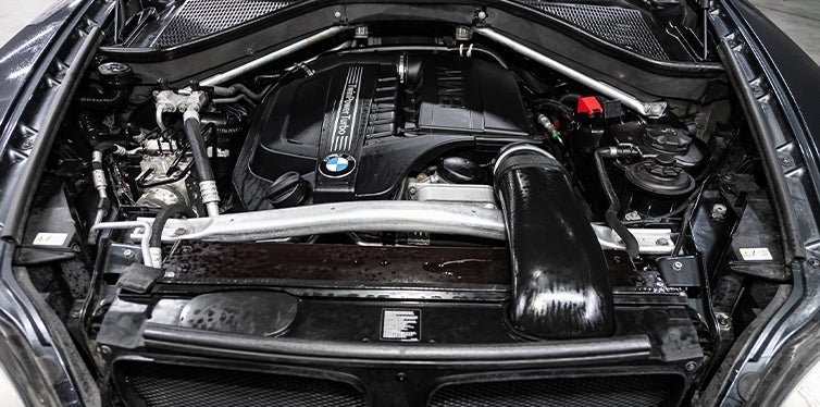 Cleaned engine bay of a BMW