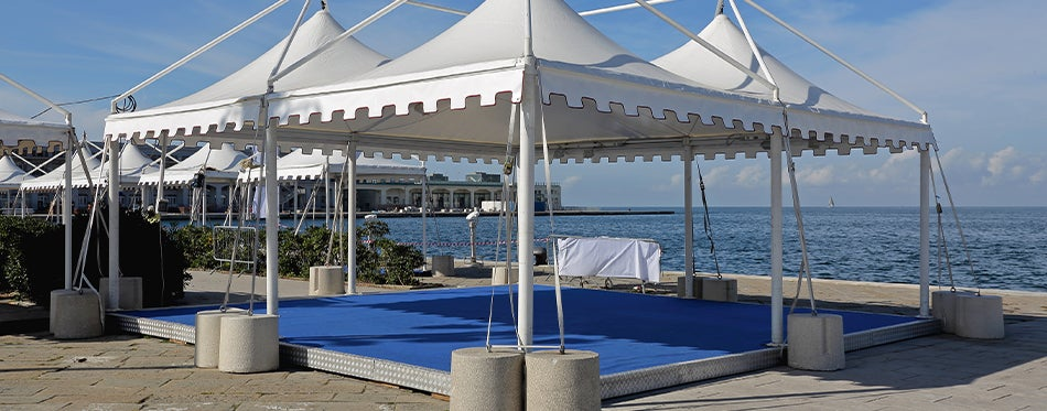 Pop-Up Canopies by the side of the beach