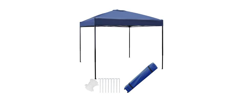 Blissun 10 x 10 Ft Outdoor Portable Pop-Up Canopy Tent with Roller Bag (Blue)