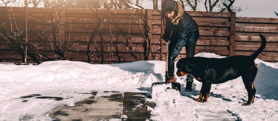 Man removing snow from a sidewalk without ice melt
