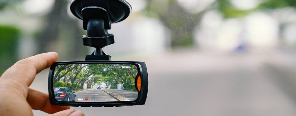 Car video camera attached to the windshield