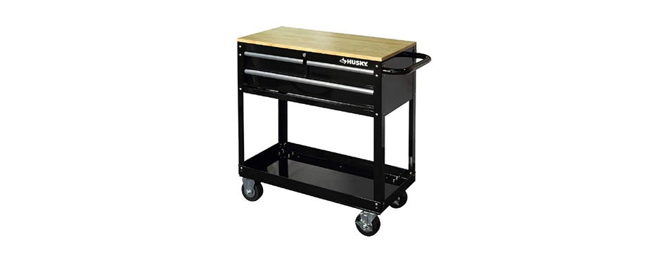 Husky 36 in. 3-Drawer Rolling Tool Cart with Wood Top