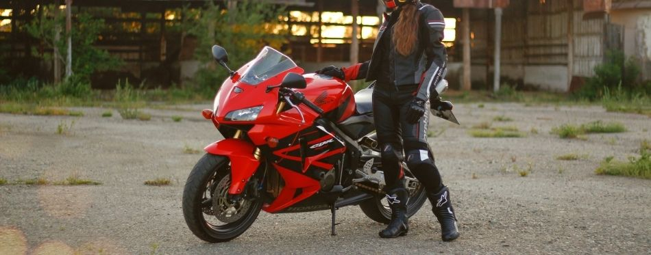 Woman in motorcycle armor