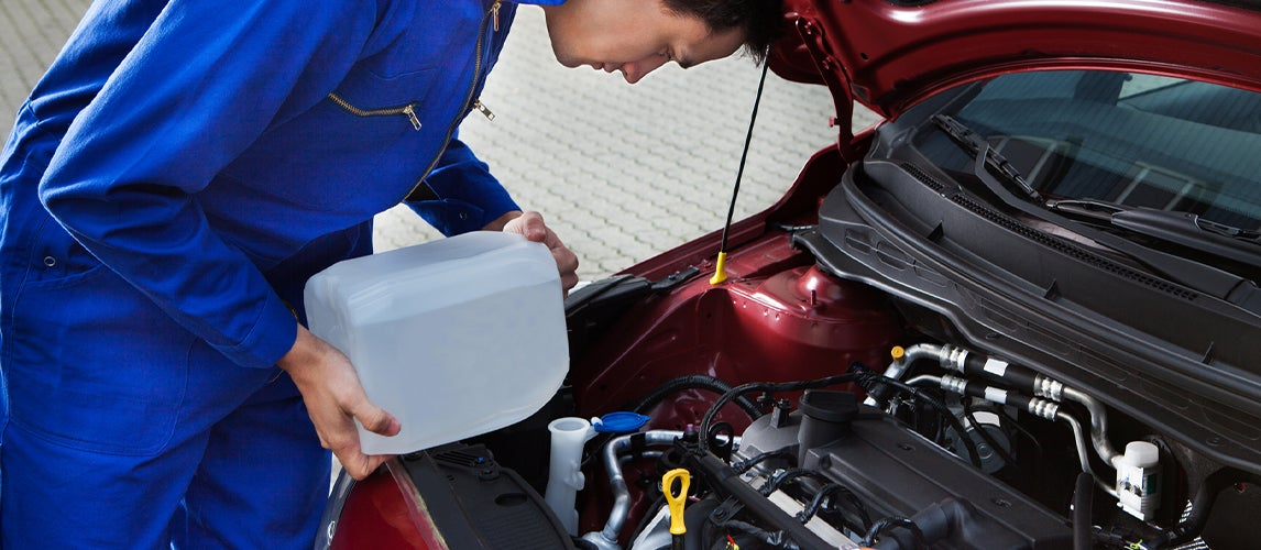 mechanic filling the car with RV Antifreeze