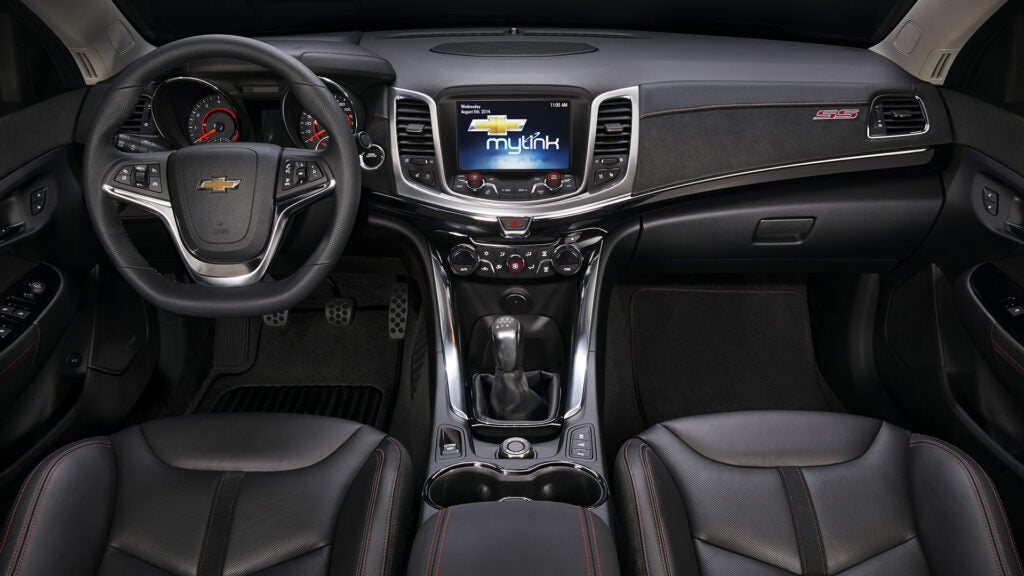 The black interior of a Chevrolet SS is dull but sporty.