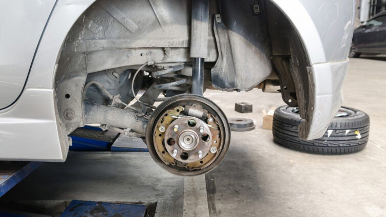 A view of drum brakes without the wheel.
